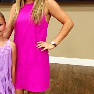 BRIGHT PINK NEON HIGH NECK DRESS WITH SCALLOP